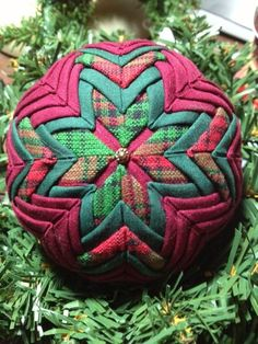 Beautiful Burgundy Green and Plaid Handmade Quilted Ornament by ForTheLoveOfPlaid on Etsy https://www.etsy.com/listing/203795333/beautiful-burgundy-green-and-plaid