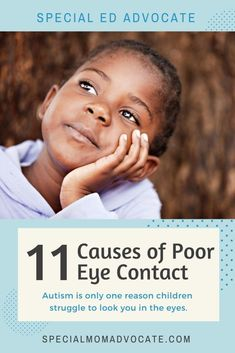 There are physiological reasons that explain why kids dont make eye contact and those are far more likely to be the reason than any negative spin