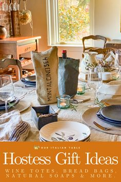 Find the perfect hostess gift to bring to your holiday dinners. Wine totes from $22, bread bags from $19, natural soaps from $9, linen kitchen towels from $20 and more. All items are made by artisans in Italy. Shop now to receive items before Thanksgiving! #hostessgift #hostessgifts #hostessgiftideas #giftideas #giftsets #homegifts #giftsforthehome #winebag #winetote #breadbag #breadbags #kitchentowels #linentowels #madeinitaly #artisanmade #artisangifts
