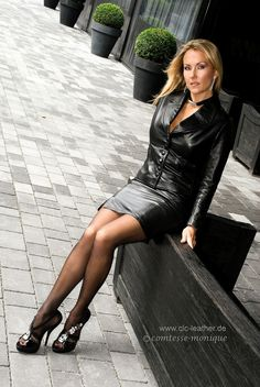 Black Leather Skirt Suit Sheer Black Stockings and Black Stiletto High Heels Sexy Women, Women Wear, Sexiest Women, Ladies Wear, Look Fashion, Womens Fashion, Leder Outfits, Pantyhose Outfits, Black Pantyhose