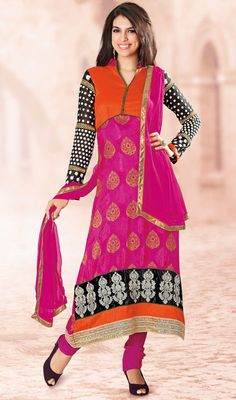 Multicolor Viscose Georgette Churidar Suit Price: Usa Dollar $111, British UK Pound £65, Euro82, Canada CA$121 , Indian Rs5994.