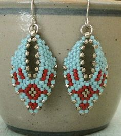 Best Seed Bead Jewelry  2017  Linda's Crafty Inspirations: Russian Leaf Earrings  Moody Blue & Red