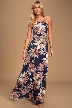 Blue Floral Print Dress - Maxi Dress - Blue Handkerchief Dress