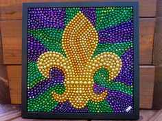 Mardi Gras bead mosaic, fleur de lis, purple, green, gold, New Orleans, original, framed art, repurposed, bayouland beads, bead art by BayoulandBeads on Etsy https://www.etsy.com/listing/254707046/mardi-gras-bead-mosaic-fleur-de-lis