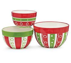 """#burtonandburton Dishwasher safe/FDA approved/Microwave safe.<br>Hand-painted ceramic bowls with red, white, and green stripes with raised dots and swirls. Each bowl has a different pattern and a solid color rim. White interior for all.<br><br>Large: 4 1/4""""H X 8""""Opening and holds 80oz.(US Dry: 2 1/4qt.<br>Medium: 4 1/4""""H X 7""""Opening and holds 64oz.(US Dry: 1 3/4qt.)<br>Small: 3 1/4""""H X 5 1/2""""Opening and holds 28oz.(US Dry: 1 1/2pt.)<br><br>1 nested set of 3."""