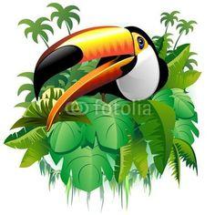 Tucano Vegetazione Tropicale-Toucan on Tropical Plants-Vector © bluedarkat #38587364