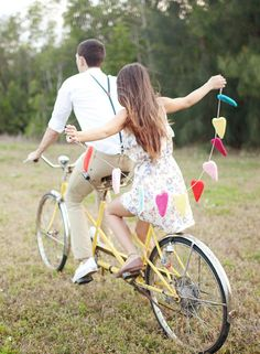 heart bunting + bicycle + floral dress + braces