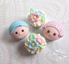 These adorable cupcakes would be great for a baby shower. Fondant Cake Toppers, Fondant Cupcakes, Fondant Figures, Cupcake Cakes, Cupcake Toppers, Baby Cupcake, Baby Shower Cupcakes, Shower Cakes, Baby Boy Shower