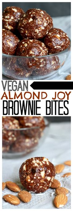 The BEST Vegan Almond Joy Brownie Bites! Made with raw almonds and shredded coconut and sweetened with dates and maple syrup, these Gluten Free and Vegan Almond Joy Brownie Bites are perfect for a dessert of snack!