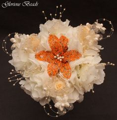 Lily-Wedding-Bouquet-BEADED-FLOWER-Orange-Peach-Ivory-and-Pearls