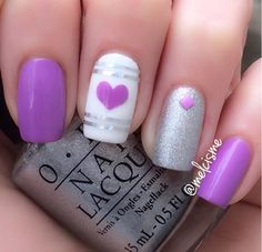Pretty purple Vday nails by Instagram user Melcisme #purple #heart #valentinesday #nails
