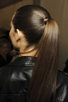 Louis Vuitton backstage -- nothing is better than a sleek ponytail