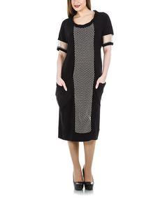 Loving this Black Netting Scoop Neck Dress - Plus on #zulily! #zulilyfinds