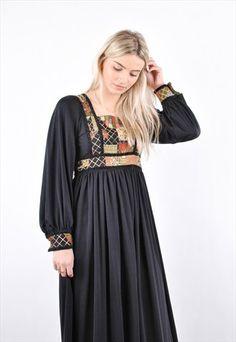 70S VINTAGE BLACK BOHO LIBERTY AFGHAN MAXI DRESS