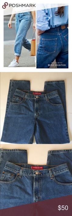 Levi's Classic relaxed 550 Tampered 10M Mom Jeans Type:Mom Jeans Classic 550 Tampered Relaxed Jeans  Size:10M Material:100 cotton Color: blue jeans Conditions: excellent condition      Please compare measurement to own favorite clothing to help avoid having a return. Measurements are approximate:   Waist:31 Hip:42/5 Thigh:26 Knee:19 Outer seam :40 Inseam:30 Rise :11    All of my items are from a smoke free pet free-clean home. Levi's Jeans