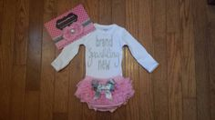 """SALE SilverGlitter Vinyl Bling """"brand sparkling new""""Onesie, Lace Bloomers, & Headband Set, baby girl, newborn, hospital outfit,take home set"""