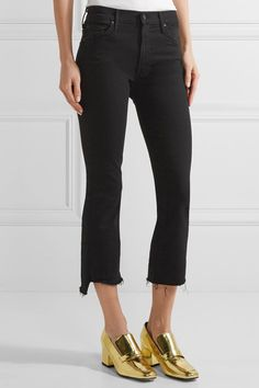 Mother - The Insider Crop High-rise Flared Jeans - Black - 30