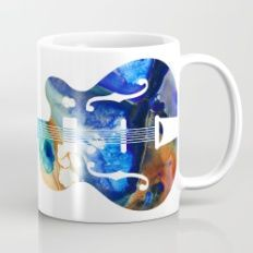 Vintage Guitar - Colorful Abstract Musical Instrument Mug