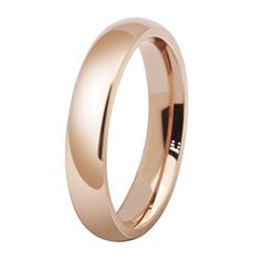 Womens 4Mm Stainless Steel Rose Gold Simple Style Wedding Ring Engagement Ban...