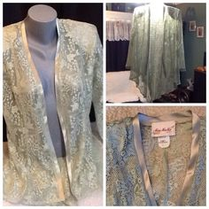Beautiful pale green jacket or swim suit cover up. Beautiful lace jacket, pale green with satin trim, could also be used as a swim suit cover up. Light weight and drapes beautifully . Miss Mu Mu Tops