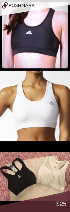 Black & White Adidas sports bras Two small Black & White Adidas sports bras.  In like new condition, rarely used at all.  Great for moderate to high impact sports.  Were bought for running before I injured my back. Adidas Intimates & Sleepwear Bras