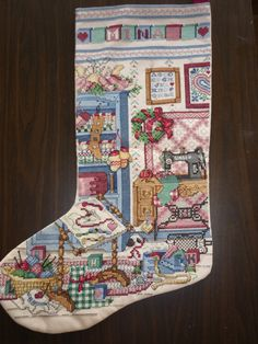 My personal Christmas stocking done in cross stitch ~ image only ~ pattern came from Better Home & Garden pattern book which is now out of print