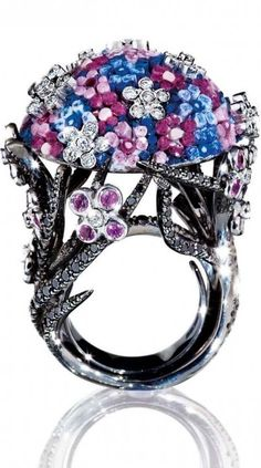 Ring in white gold 18 ct, diamonds, black diamonds, pink sapphires and micrmosaic by SICIS