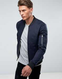 ASOS Muscle Fit Bomber Jacket With Sleeve Zip in Navy - Navy