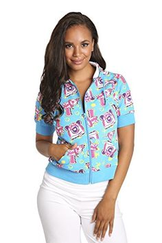 Sweet Vibes Junior women Blue Print Stretch French Terry Zip Up Hoodie Jacket >>> You can get more details by clicking on the image.  This link participates in Amazon Service LLC Associates Program, a program designed to let participant earn advertising fees by advertising and linking to Amazon.com.
