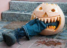 Leg in the pumpkin - Halloween Halloween Banner, Halloween Snacks, Halloween 2017, Halloween Party Decor, Halloween Cards, Halloween Make Up, Halloween Pumpkins, Dollar Store Halloween, Diy Party