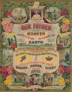 George Washington Abe Lincoln James Garfield Lords Prayer 10 Commandments Poster