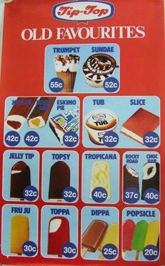 Mid Tip-Top Ice Cream Range Poster - New Zealand - Wow look at the prices! Tip Top Ice Cream, Ice Cream Prices, 1980s Food, New Zealand Food, Ice Cream Van, Nz Art, Kiwiana, All Things New, 80s Kids