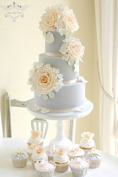 Beautiful grey fondant with intricate floral flourishes that extend past cake and onto the cupcakes. Round, three-tier wedding cake and cupcakes.