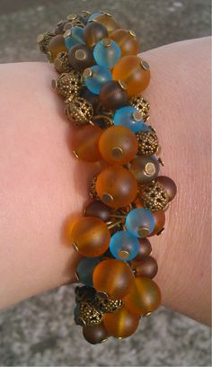 amber, aqua, brown and bronze cluster bracelet