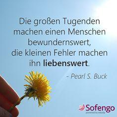 Die großen Tugenden machen einen Menschen bewundernswert, die kleinen Fehler machen ihn liebenswert.- Pearl S. Buck