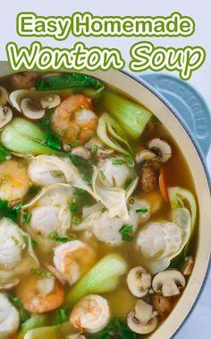 Easy Homemade Wonton Soup - My Website 2020 Wonton Recipes, Easy Soup Recipes, Cooking Recipes, Healthy Recipes, Pork Recipes, Chicken Recipes, Chinese Soup Recipes, Seafood Soup Recipes, Chinese Desserts