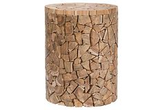 reminiscent of stacked firewood.  Love the Eudora Teak Round Accent Table on OneKingsLane.com #onekingslane and #designisneverdone