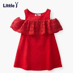 Little J Cotton Girls Red Off Shoulder Dress Toddler Hollow Lace Dresses Cute Casual Chi. : Little J Cotton Girls Red Off Shoulder Dress Toddler Hollow Lace Dresses Cute Casual Children Summer Dress Kids Clothes Kids Summer Dresses, African Dresses For Kids, Little Girl Dresses, Summer Kids, Dress Summer, Baby Dress Design, Baby Girl Dress Patterns, Frock Design, Kids Dress Wear