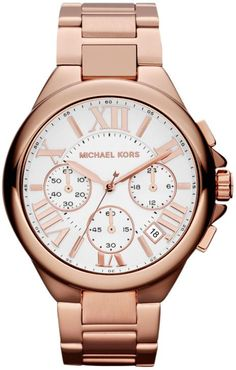 6b788522052ac Michael Kors Mid-Size Rose Golden Stainless Steel Camille Chronograph Watch  I want this watch soo bad
