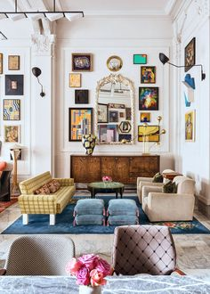 pops of blue in eclectic living room. / sfgirlbybay pops of blue in eclectic living room. / sfgirlbybay pops of blue in eclectic living room. Home Decor Inspiration, Eclectic Living Room, Home, Eclectic Home, Eclectic Interior, Living Room Decor, House Interior, Room Decor, Interior Design