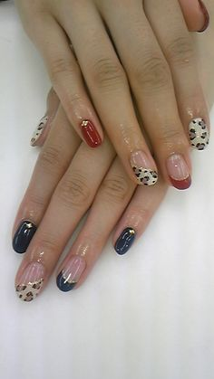 Wine-red, Navy & Leopard Nails