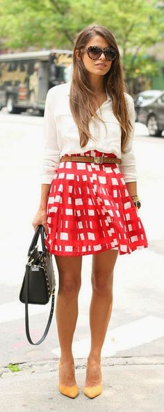 Cute Summer outfit for work. Simple classic white shirt, belted skirt, and pumps -yellow. Classic and over the top.