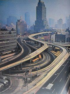 New York City 1960s Port Authority Ramps Vintage, via Flickr.