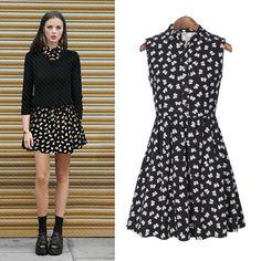 Black Sleeveless Floral A Line Dress