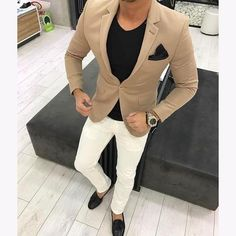 Quality 2017 Latest Coat Pant Design Brown khaki Men Suit Casual Blazer Skinny Tuxedo Custom 2 Piece Jacket Style Suits Terno Masculino with free worldwide shipping on AliExpress Mobile Mode Swag, Herren Outfit, Casual Blazer, Casual Outfits, Khaki Blazer, Blazer Suit, Fashion Mode, Empire Fashion, Fashion Fashion