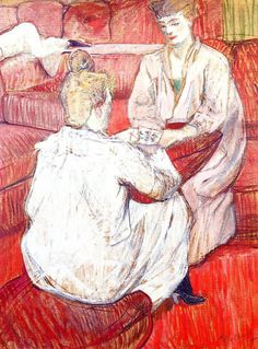 """The card players, 1893 Art by Henri de Toulouse-Lautrec (Fr. 1894-1901) """