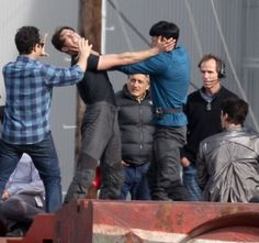 Benedict Cumberbatch, slap fight with Spock! Lemme rip that ridikulus bangs on your head, spock!! Ahahahahhah