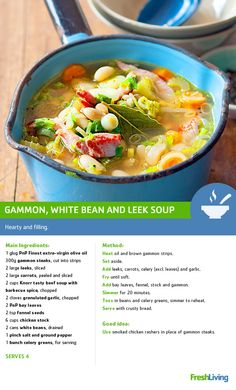 This and white bean will warm you up - so much so that you'll forget the chilly season's even here! Vegetable Salad, Vegetable Side Dishes, Gammon Steak, Cooking Tips, Cooking Recipes, Leek Soup, South African Recipes, Recipe Search, White Beans