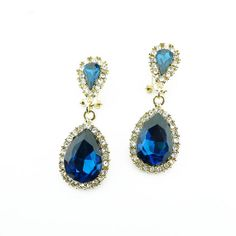 Sapphire earrings blue statement earrings drop glass by eBijoux, $7.99