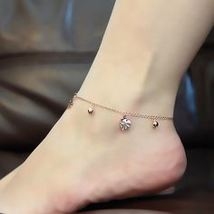8fcd4f7606c3 Top Quality Fashion Rose Gold Color Stainless Material Bells and Clovers  Charms Foot Bracelet   Foot · Pulsera De Oro Para ...